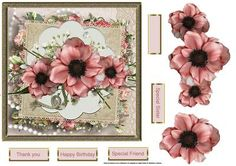 wild poppy 7x7 card with large decoupage and sentiment tags