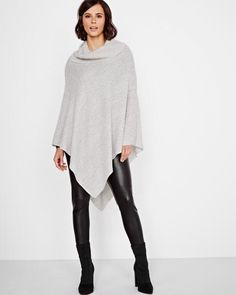 Cowl-neck Poncho Sweater