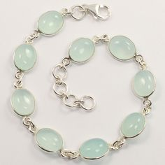 Wholesale Store ! Natural AQUA CHALCEDONY Gemstones Bracelet 925 Sterling Silver #Unbranded #Chain