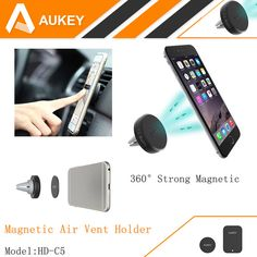 AUKEY 360 Degree Universal Car Holder Magnetic Air Vent Mount Smartphone Dock Mobile Phone Holder ,PC / Cell Phone Holder Stands