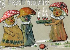 Embossed 1906 Happy New Year card in German.  There are 3 mushrooms celebrating the New Year with a ladybug on a leash. $12.75