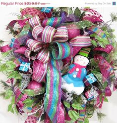Frosty the Snowman, Whimsical Christmas Deco Mesh Outdoor Wreath, Blue, Hot Pink, Lime via Etsy.