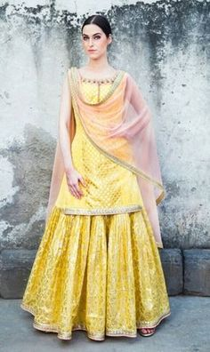 Sangeet Outfit - Yellow Kurta with a Yellow Skirt and Pink Net Dupatta Indian Engagement Outfit, Indian Wedding Outfits, Indian Outfits, Indian Clothes, Pakistani Dresses, Indian Dresses, Gharara Designs, Sangeet Outfit, Look Short