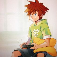 Sora (in Ven's shirt) hopefully playing kh3 so he can wake up Ven....by heartlesskii
