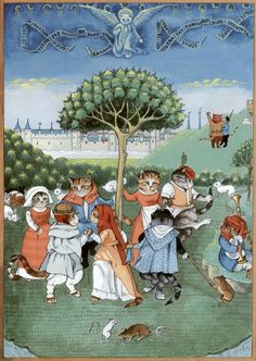 """Peasants Dancing Paris (Cats Medieval)"" par Susan Herbert"