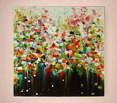 """""""Blütenregen""""+abstrakte+Blumen+Malerei+von+Atelier+Mila+Schöneberg+auf+DaWanda.com"""