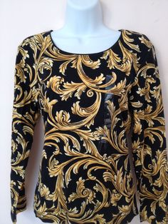 Karen Scott Petites Black & Gold in Petite Large