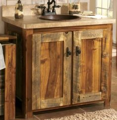 """The vanity exudes serene, rustic, uncommon elegance.  Dimensions:  31""""H x 34""""W x 21""""D.  Dimensions with top:  33""""H x 36""""W x 22-1/2""""D.   Available:  Base Only, Base with Laminate Top, Base with Laminate Top, Sink and Faucet (predrilled sink and faucet holes)."""