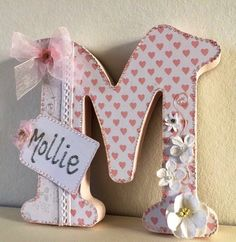 free standingbaby girl20cm wooden letterpink by CraftyBirdDesign