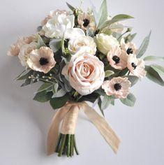 Ideas For Bridal Bouquet Anemone Ribbons Blush Flowers, Bridal Flowers, Faux Flowers, June Wedding Flowers, Vintage Wedding Flowers, Wedding Flower Design, Wedding Flower Arrangements, Floral Arrangements, Silk Bridal Bouquet