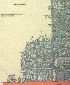 An Incredibly Detailed Cross-Section Illustration of Kowloon Walled City in Hong Kong by Kazumi Terasawa, and H. Kani