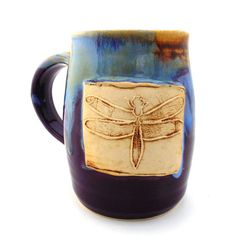 Handmade Pottery Mug pottery and ceramics Dragonfly purple and blue and brown by Jewel Pottery