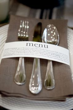 Entertaining Idea: Menu Cards « ConfettiStyle @ Wedding-Day-Bliss                                                                                                                                                                                 More