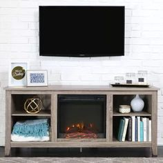 "Driftwood TV Stand with Fireplace Insert for TVs up to 60"", Multiple Colors"