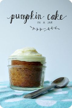 Recipe for Pumpkin Cake in a jar with cream cheese frosting