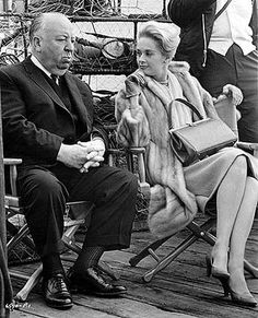 Alfred Hitchcock and Tippi Hedren on set of The Birds