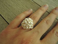 Cream Berry Ring: Size 9 Ready to Ship, Sizes 5-12 Made to Order, Retro Wedding, Off White Ivory Ring, Art Deco via Etsy