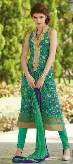 Green Printed Churidar Salwar Suit 31183