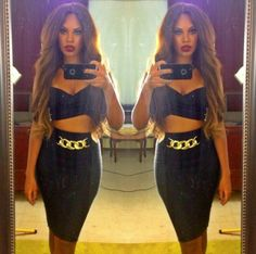 OMG That Pencil Skirt & Crop Top !!!! #Want Black and Gold