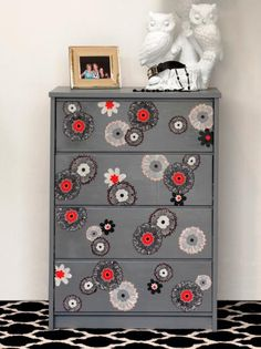 The experts at DIY Network show you how to use paint, fabric and decoupage glue to upcycle an old wood dresser.