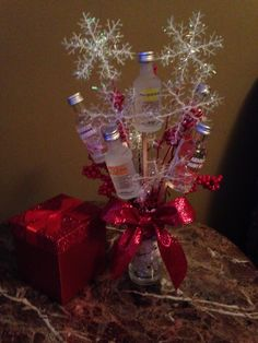 Just finished! Liquor bouquet for a Christmas gift. Small Christmas Gifts, Christmas Jars, Magical Christmas, Christmas Gift Wrapping, All Things Christmas, Christmas Crafts, Christmas Presents, Christmas Trees, Alcohol Gift Baskets