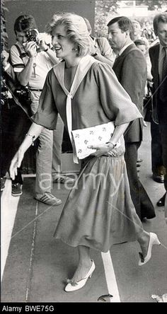 Princess Diana EIGHTIES ROYALTY TENNIS TENNIS CHAMPIONSHIPS WIMBLEDON TOURNAMENT LONDON BRITAIN TRADITION CUSTOM TRADITIONAL Stock Photo