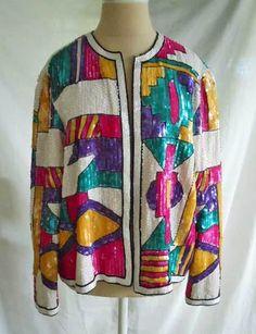 2c7cae312be Vintage 60s NOS Deadstock Modernist Trophy SILK Sequin Beaded Blazer Jacket  L Beaded Jacket