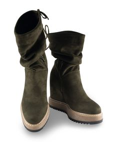 Grumman Platform Bootie for casual drinks in a comfy style. Fall Trends, Color Trends, Green Colors, Earthy, Blue And White, Black, Olive Green, Chelsea Boots, Fall Winter