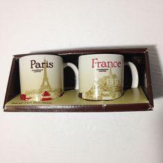 Starbucks Paris & France Mini Demitasse Mugs 2014 Set Of 2 Espresso Cup 3 OZ Starbucks Christmas, Espresso Cups, Serving Dishes, Paris France, Dinnerware, Mugs, Tableware, Ebay, Dinner Ware
