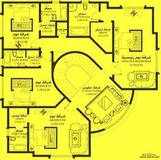 خرائط الفيلا 5 غرف نوم MA-03 - أبعاد المسكن 22.90م عرض * 19.80م عمق House Layout Plans, My House Plans, Family House Plans, Luxury House Plans, House Layouts, Bungalow Floor Plans, Modern Floor Plans, Bungalow House Design, Four Bedroom House Plans