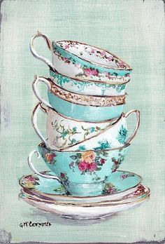 Victorian Stacked Aqua Themed Tea Cups Poster by Gail Mccormack ✿⊱╮