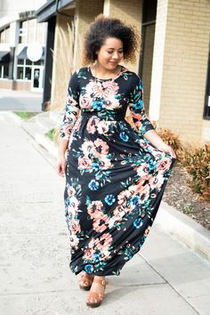 932aeb1ab3 Brenda Floral Maxi Dress Black Womens Boutique Dresses, Boutique Clothing,  Modest Wedding Dresses,
