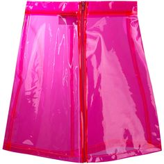 Brashy transparent high-shine skirt ($160) ❤ liked on Polyvore featuring skirts, pink pvc skirt, sheer skirt, pink skirt, shiny skirt and wet look skirt