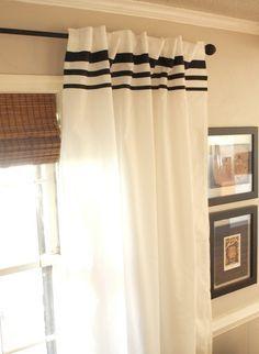 How to dress up plain white vivan Ikea curtains with ribbon stripes
