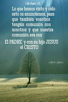 1 de Juan, 1:3 - lo que hemos visto y oído, esto os anunciamos, para que también vosotros tengáis comunión con nosotros; y que nuestra comunión sea con el Padre, y con su Hijo Jesús, el Cristo.