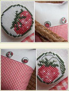 Strawberry cross stitch by Vechernie Posidelki- Oh soooo sweet!