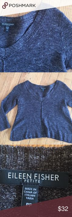 Wool linen silk crop sweater. 😃 Nice material by Eileen Fisher, brown tweed cropped sweater, 3/4 sleeve, very cute, and nice quality. Eileen Fisher Sweaters