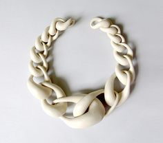 """Necklace made from hollow copper links, car paint - by Noon Passama """"fat-chain-no-1"""""""
