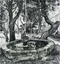 nataliakoptseva: Vincent Van Gogh Fountain in the Garden of Saint-Paul Hospital, 1889