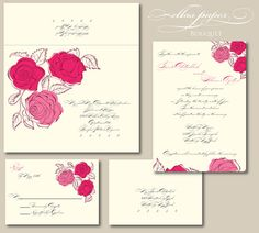 Red and pink wedding invitation