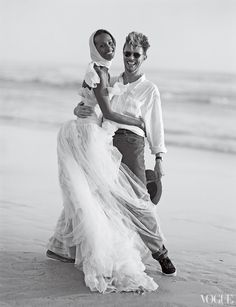 Iman in Chanel Haute Couture by Karl Lagerfeld at her wedding to David Bowie photographed by Bruce Weber for Vogue, April 1995
