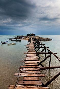 Boathouse along Lamai Beach, Ko Samui, Thailand