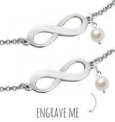 Silver Bracelet Set 'Infinity & Pearl'
