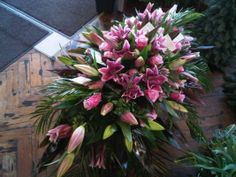 All pink lily casket spray