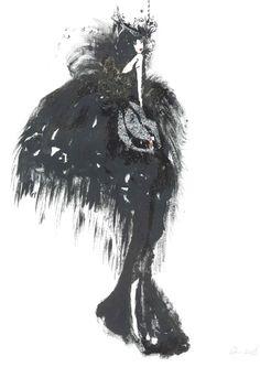 """Black candleabra"" 2014.  watercolour, ink, pen"