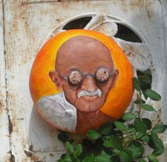 Mahatma Gandhi Bottle Cap Eyes Gourd Art  shipping by hungryholler, $195.00