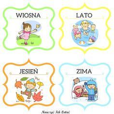 Nauczyć Ich Latać, dekoracje, przedszkole Seasons Of The Year, Four Seasons, Weather For Kids, Polish Language, Kindergarten Classroom, Montessori, Free Printables, Diy And Crafts, Preschool