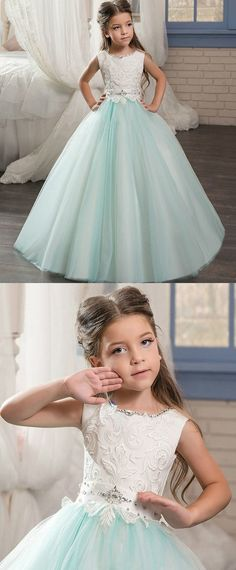 Charming Tulle & Satin Jewel Neckline Ball Gown Flower Girl Dresses With Lace Appliques Vintage Flower Girls, Flower Girl Dresses Boho, Lace Flower Girls, Little Girl Dresses, Girls Dresses, Baby Birthday Dress, Baby Dress, Bridesmaid Dresses, Prom Dresses