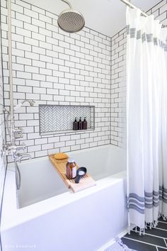 This Classic Meets Modern Small Bathroom Makeover brings big style to small space with an exposed pipe shower and a herringbone tile floor. Bathroom Showrooms, Bathroom Renos, Bathroom Interior, Bathroom Ideas, Bathroom Designs, Bathroom Remodel Pictures, Diy Bathroom Remodel, Bathroom Renovations, Modern Small Bathrooms