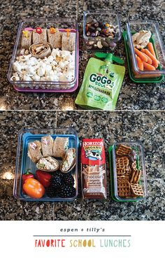 top lunch – updated pb&j sandwich (peanut butter, sliced apple and honey), popcorn, homemade trail mix, applesauce pouch, baby carrots and hummus. bottom lunch – chicken salad pinwheels, blackberries, baby bell peppers (these are the best!), chocolate milk, pretzels and chocolate almond butter.